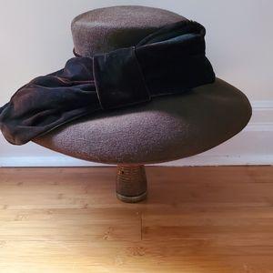 Brown Felt Lilliput Hat with Large Velvet Bow